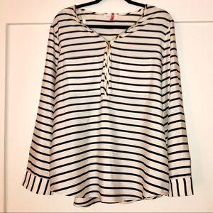 Calvin Klein LS black White Striped Blouse